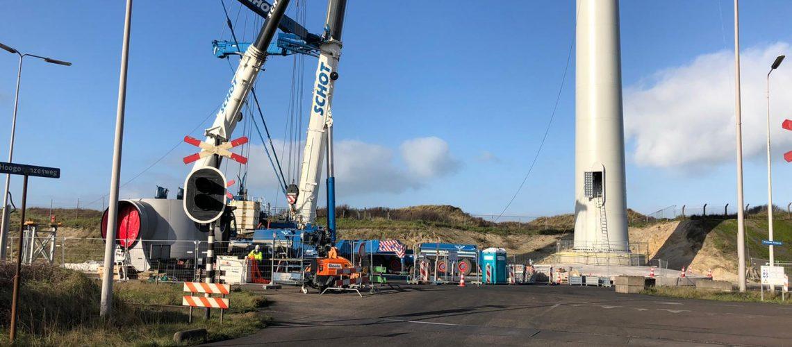 Opbouw turbines Windpark Ferrum begint